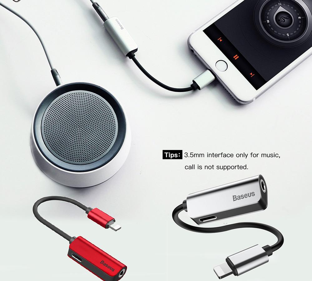Bộ Kết Nối Tai Nghe Và Sạc Lightning Baseus 3.5mm Dành Cho Iphone X/7/8 Plus - Đỏ