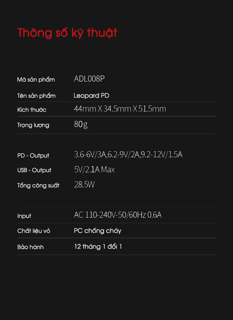 Sạc nhanh iWALK Leopard PD ADL008P