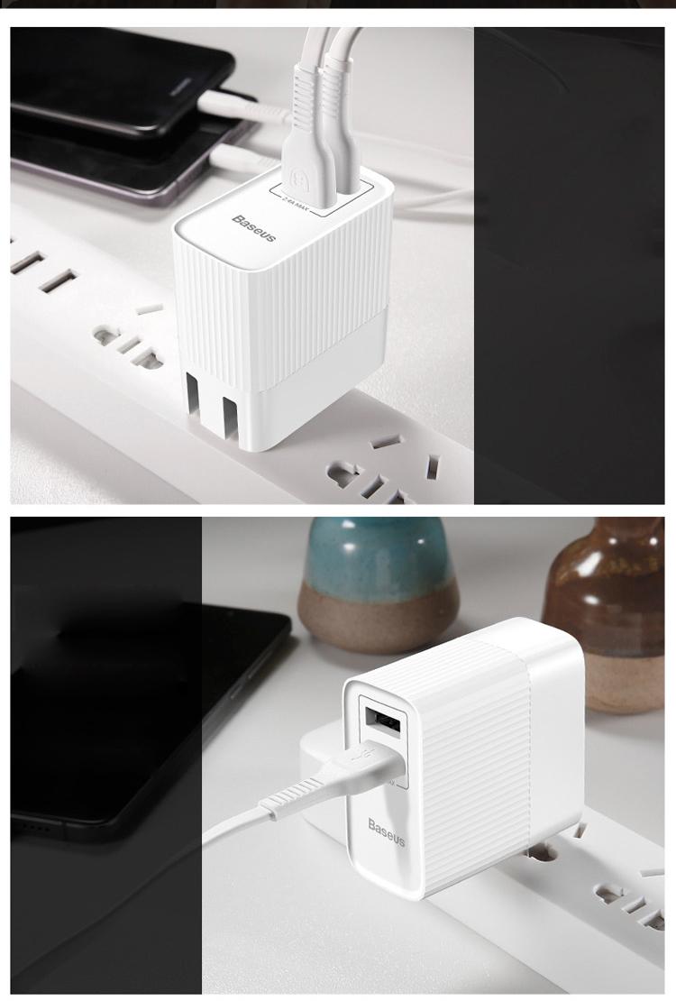 Đầu Sạc Nhanh Chữ U Baseus - Dùng Cho Điện Thoại Iphone X/8/7/6s/Plus/Ipad/Huawei/Xiaomi Không Dây, Màu Trắng
