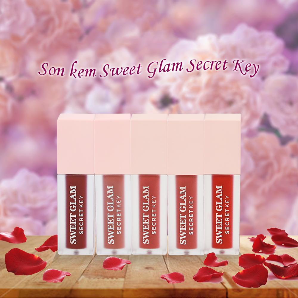 Son Kem Lì Secret Key Sweet Glam Velvet Tint 5g #01 Red More (Đỏ tươi)