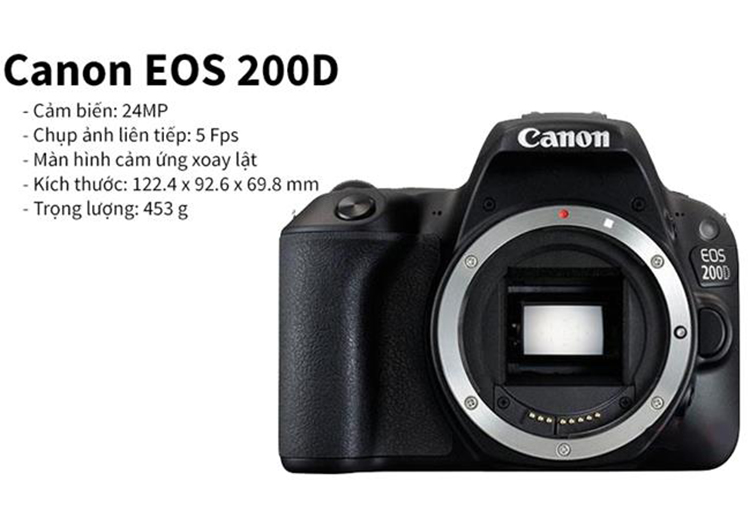 Máy Ảnh Canon 200D Kit 18-135mm IS Nano USM ( Hàng Nhập Khẩu ) - Tặng Thẻ 16G + Tấm Dán LCD