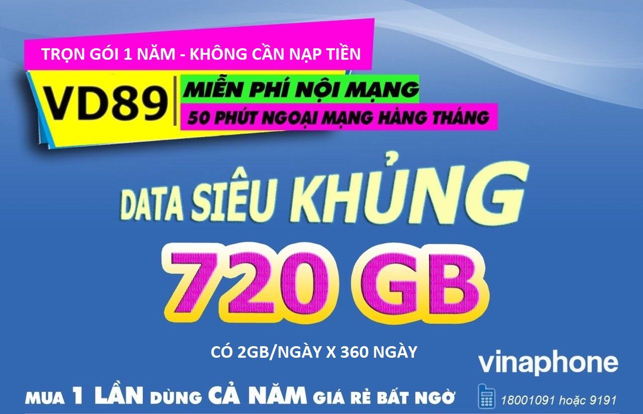Sim 4G Vinaphone VD89 trọn gói 1 năm (720Gb - không nạp tiền hàng tháng)