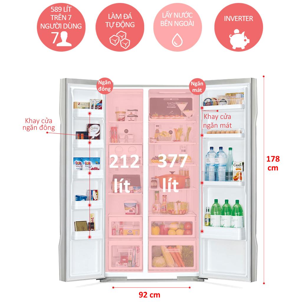 Tủ Lạnh Side By Side Inverter Hitachi R-S700GPGV2-GBK (589L) - Đen