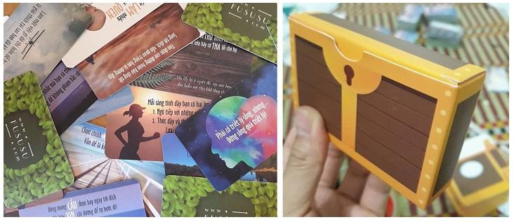 Bộ thẻ 52 ảnh châm ngôn truyền cảm hứng FuSuSu đựng trong hòm kho báu đẹp lung linh (Bản 2018)