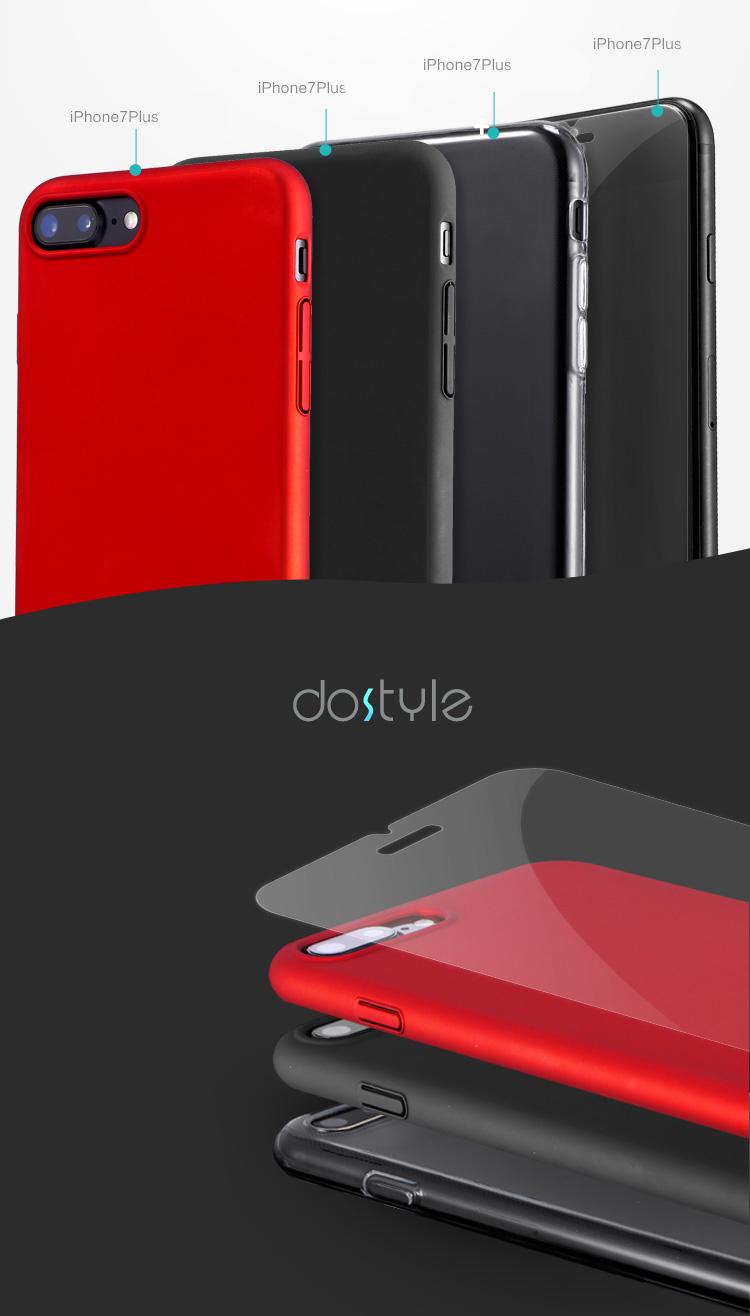 [Bộ 4 Ốp iPhone] Ốp Điện Thoại Dostyle Cho iPhone 7 Plus Gồm Ốp Silicon Trong Suốt, 2 Ốp Cứng - Đỏ, Đen Và Miếng Dán Cường Lực