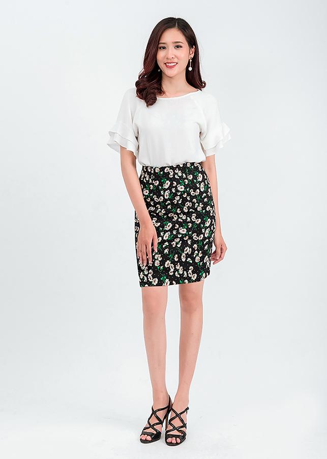 Set áo tay bèo mix chân váy ôm hoa 48701-32201
