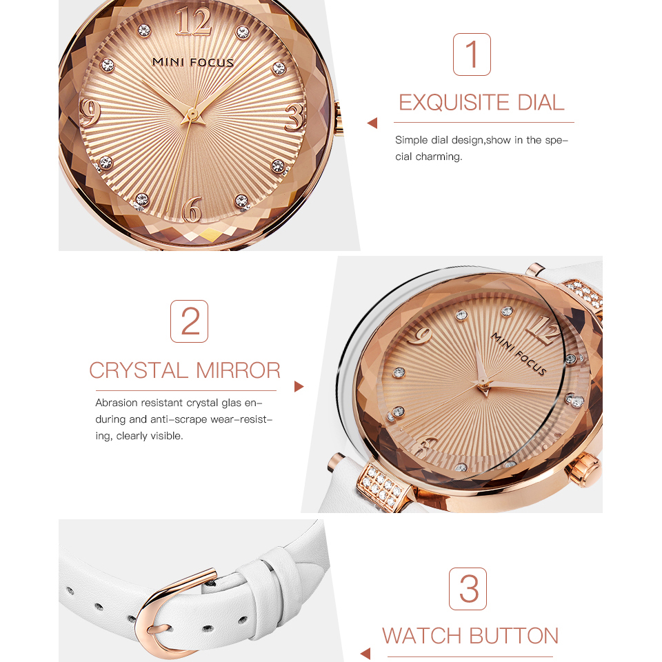 Đồng hồ nữ Mini Focus dây da mặt số đính đá trẻ trung năng động JS-MF038L