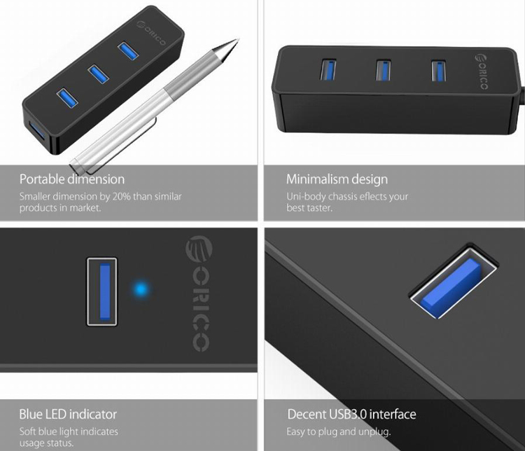 Hub USB 3.0 Orico W5PH4-U3 4 Cổng - Hàng Chính Hãng