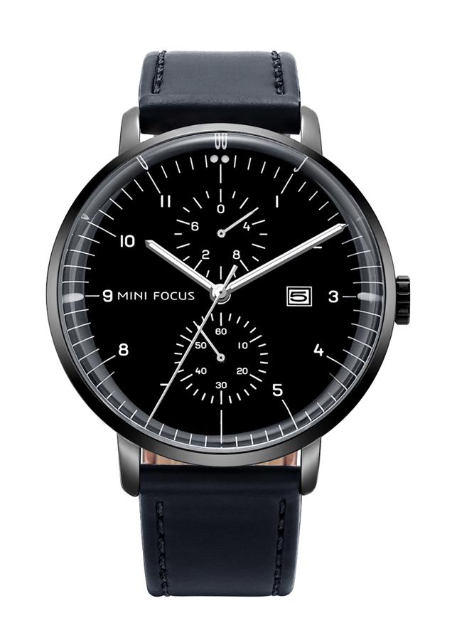 Đồng hồ nam Mini Focus 5 kim lịch ngày dây da cao cấp JS-MF052