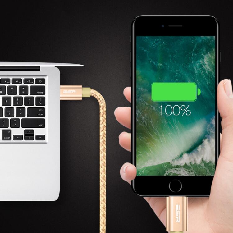 Cáp Sạc iPhone 1.5m 5s/ 6/ 6s/ 7/ 8 +/ X/ SE/ iPad Air/ Mini - (ESR) - Vàng