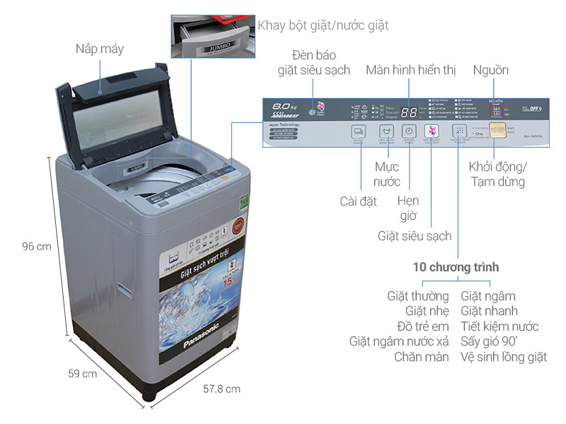 Máy Giặt Cửa Trên Panasonic NA-F80VS9GRV (8Kg)