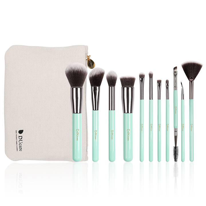 Bộ cọ trang điểm 11 cây DUcare makeup brushes 11PCS professional brushes light green