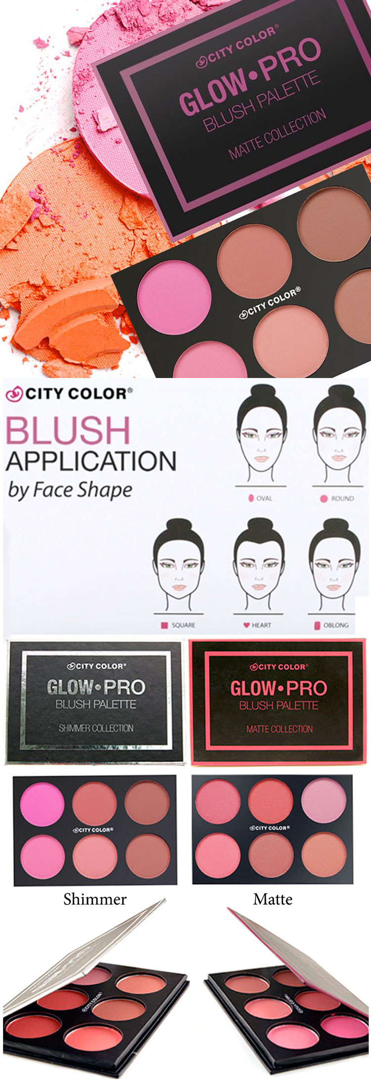 Bảng Má Hồng City Color Glow-Pro Matte Collection Blush (6 x 3.28g) 1