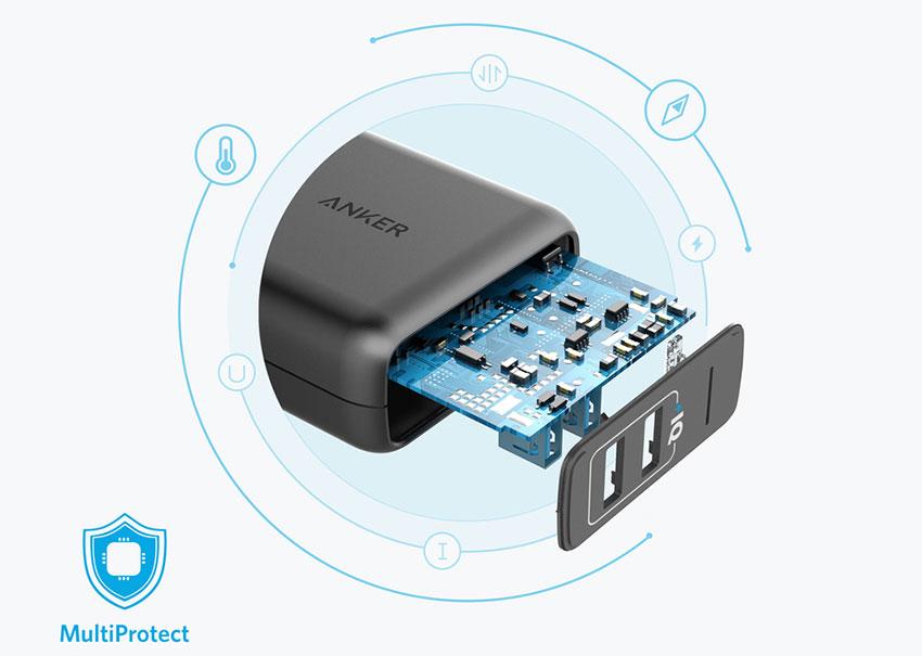 Adapter Sạc Anker PowerPort 2 Elite 2 Cổng USB 24W A2023 - Hàng Chính Hãng