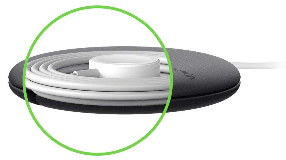 Đế Sạc Cho Apple Watch Tích Hợp Giá Đỡ Hỗ Trợ Thu Gọn Và Chống Rối Dây Cáp Belkin F8J218BT - Hàng Chính Hãng
