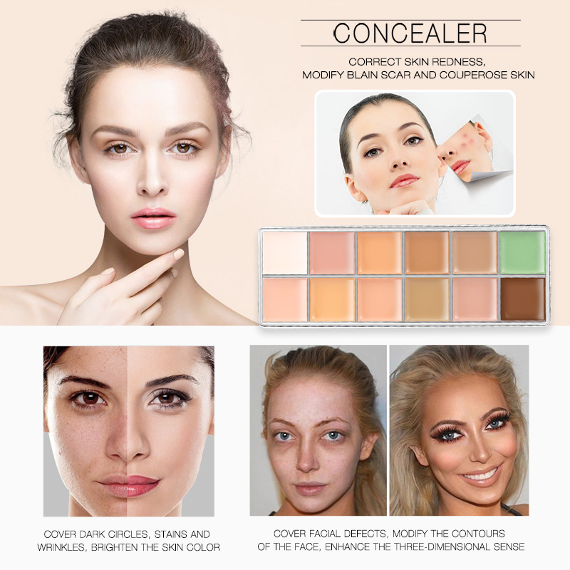 Kem Che Khuyết Điểm : O.TWO.O Rose Gold 12 Camouflage Cream Palette