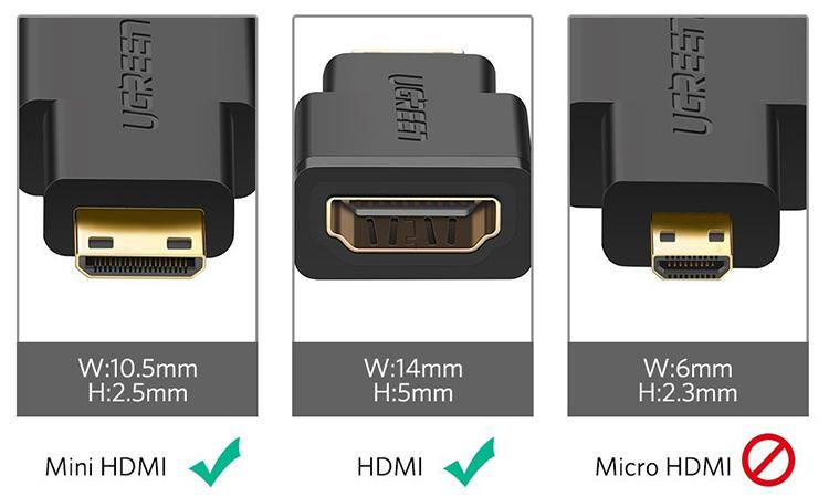 Bộ Chuyển Đổi Ugreen MiniHDMI (Male) Sang HDMI (Female) 20101 - Hàng Chính Hãng