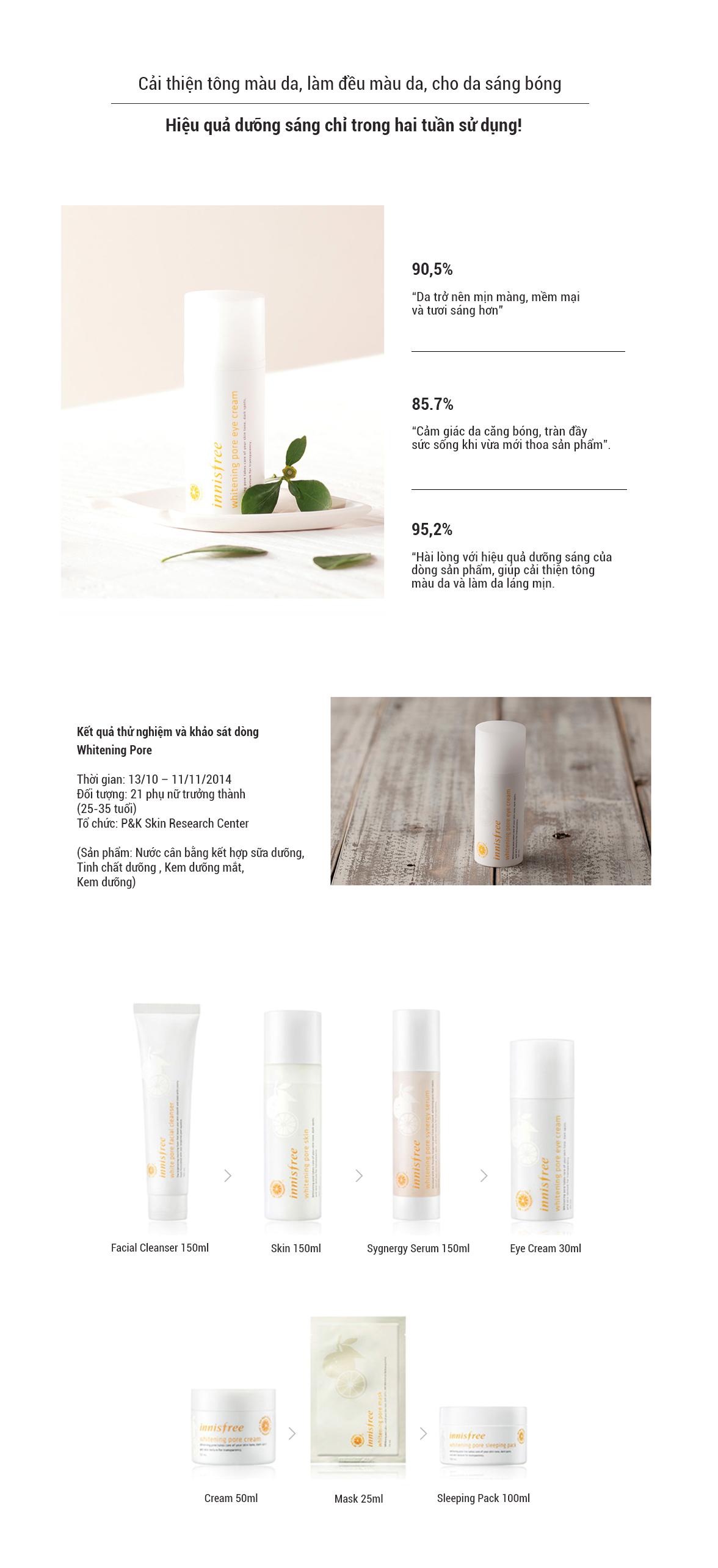 Kem Dưỡng Làm Sáng Da Vùng Mắt Từ Vỏ Quýt Tươi Jeju Innisfree Whitening Pore Eye Cream (30ml)