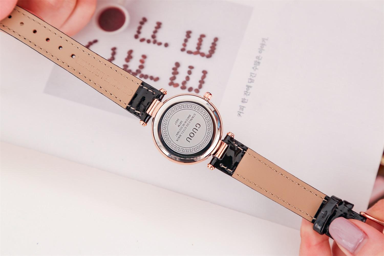 Đồng hồ nữ Guou dây da tim xoay 360* trẻ trung độc đáo JS-G6607
