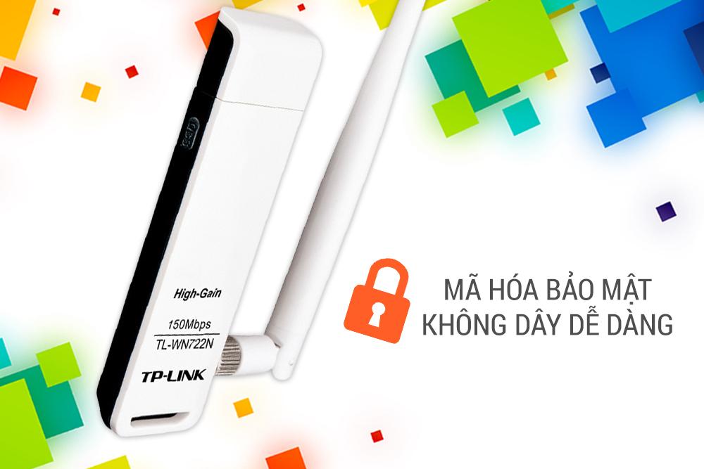 TP-Link  TL-WN722N - USB Wifi (high gain) tốc độ 150Mbps