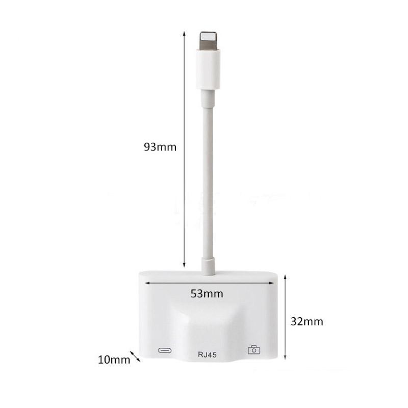 Adapter Lightning Ethernet cổng Lan RJ45 và Hub USB (kết nối bàn phím rời và OTG ) cho iPhone/ iPad