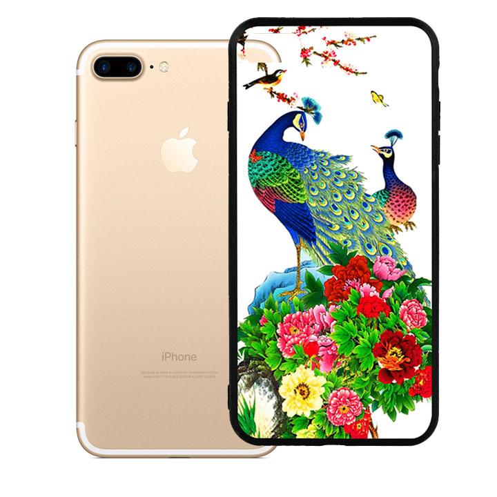 Ốp lưng viền TPU cao cấp cho Iphone 7 Plus - Chim Công
