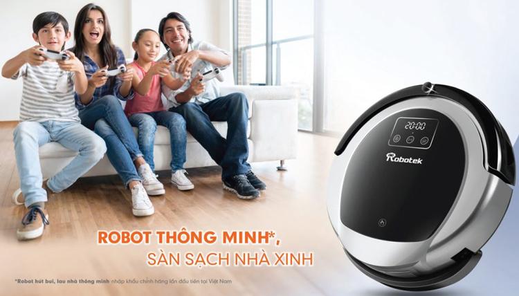 Robot Hút Bụi Lau Nhà Thông Minh Robotek W600 - Xám