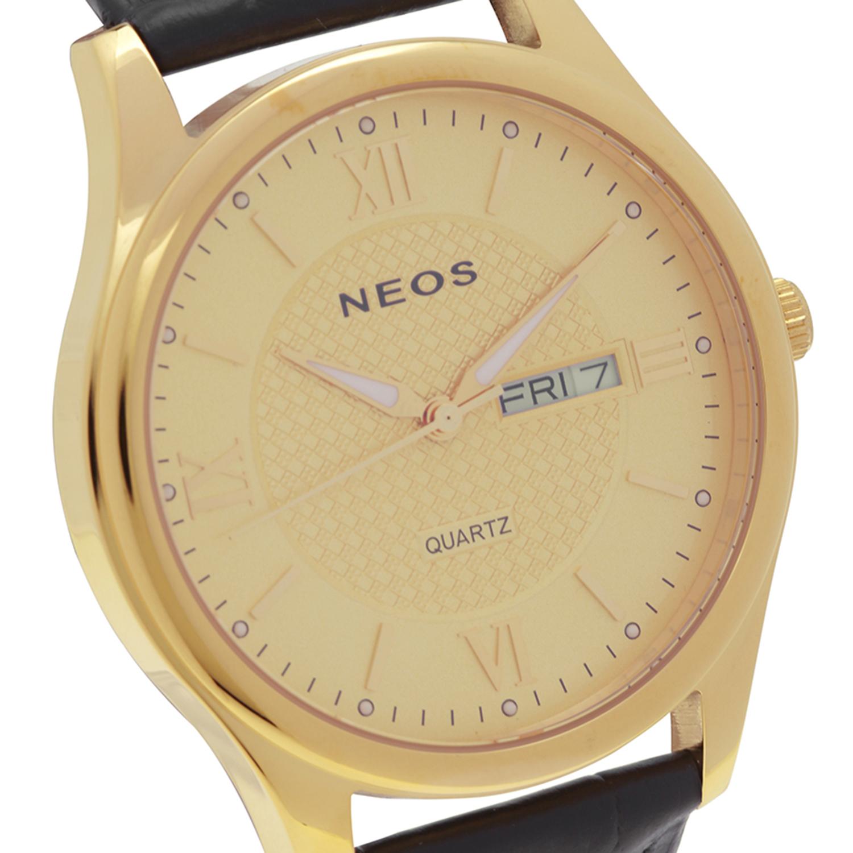 Đồng hồ Neos N-30869M nam dây da vỏ vàng