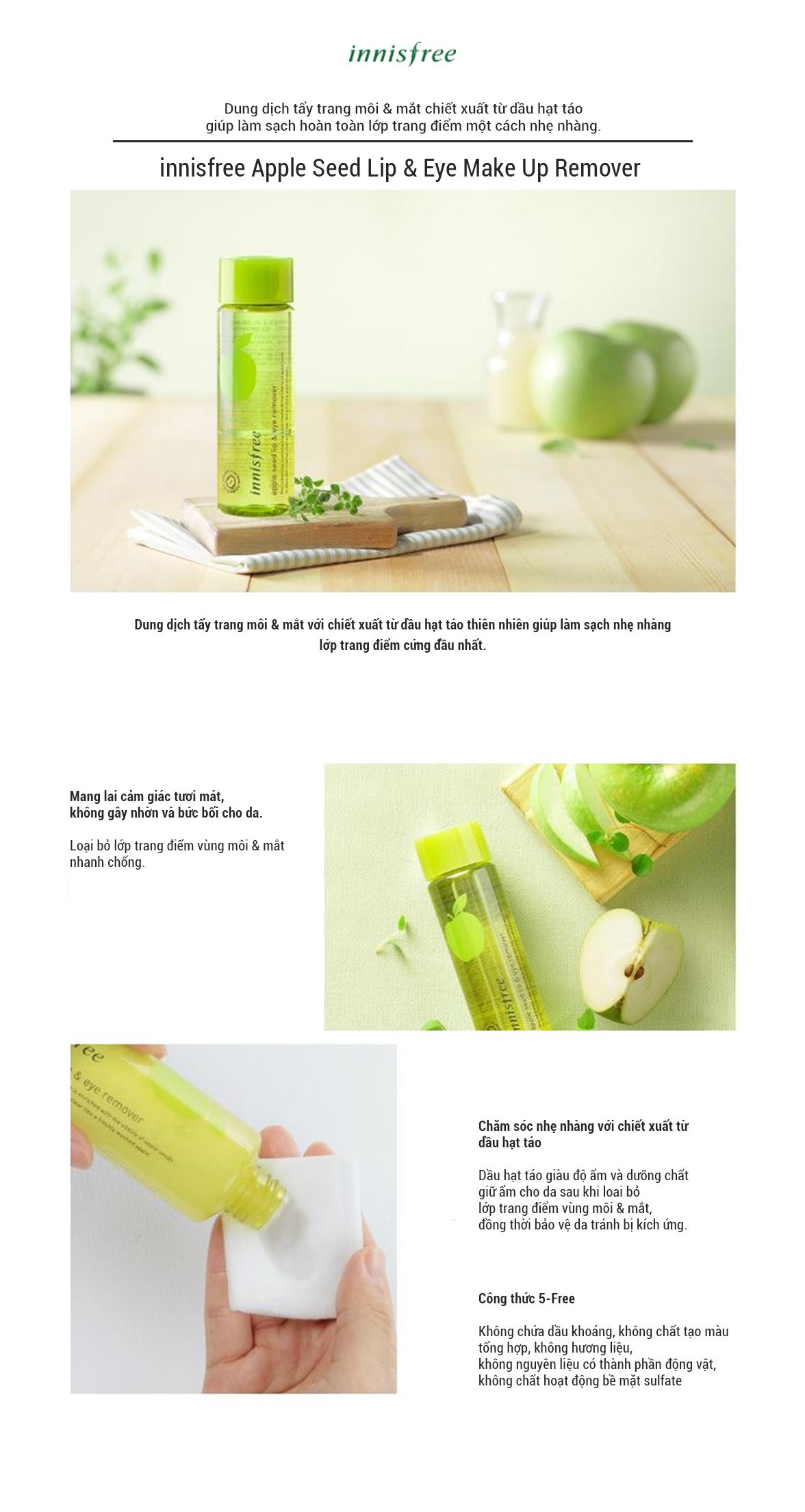 Nước Tẩy Trang Mắt Và Môi Từ Hạt Táo Innisfree Apple Seed Lip & Eye Make Up Remover (100ml)