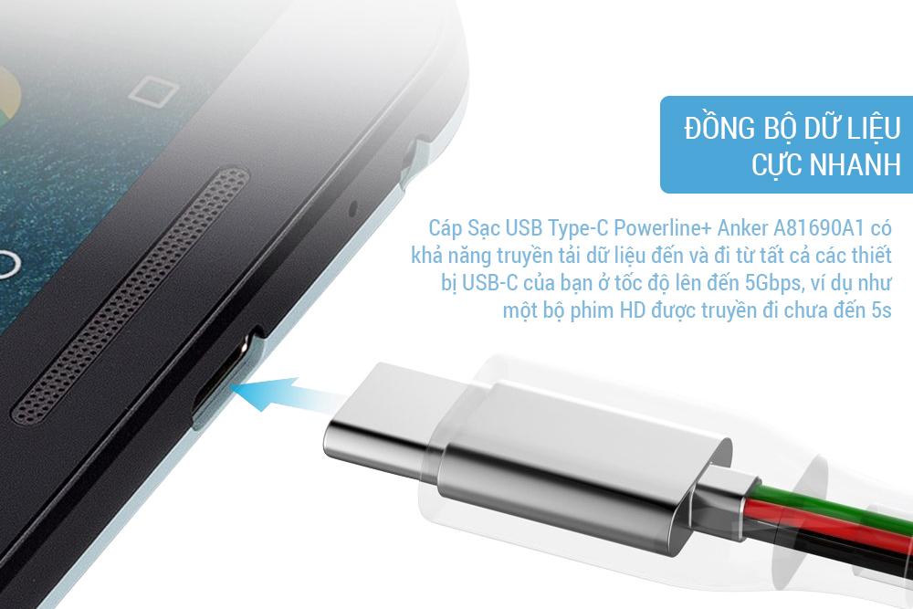 Cáp Sạc USB Type-C Powerline+ Anker A81690A1 (1.8m) - Hàng Chính Hãng