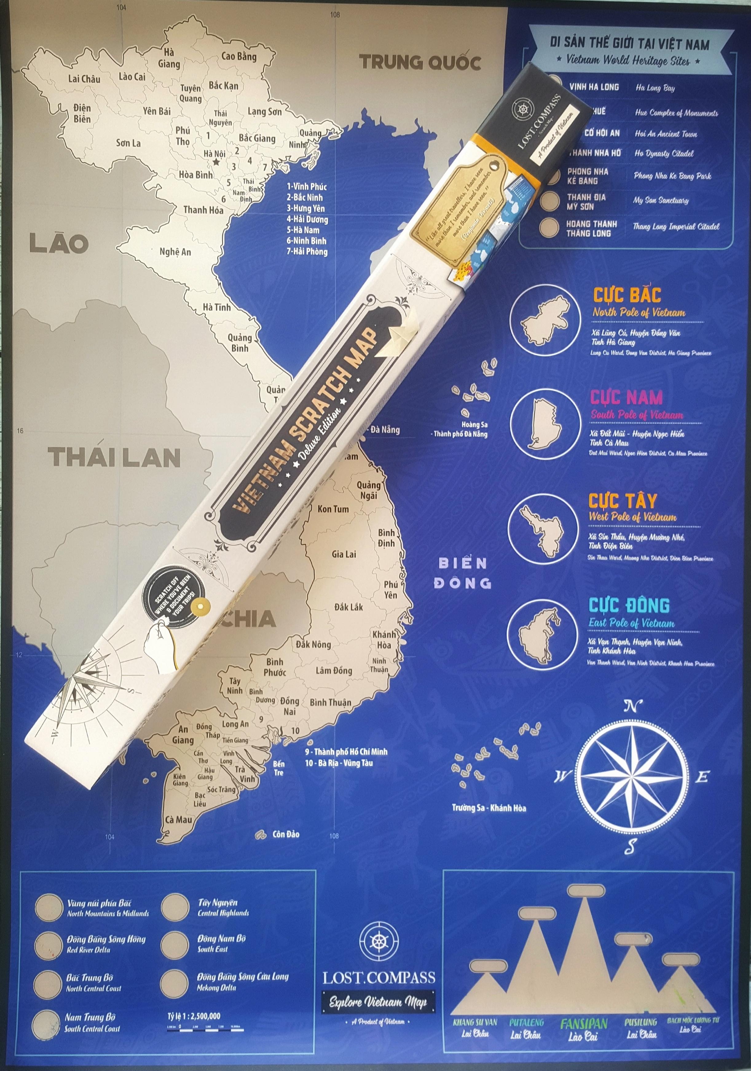 Bản đồ cào Việt Nam phiên bản Bạc - Vietnam Scratch Map Silver Deluxe Edition