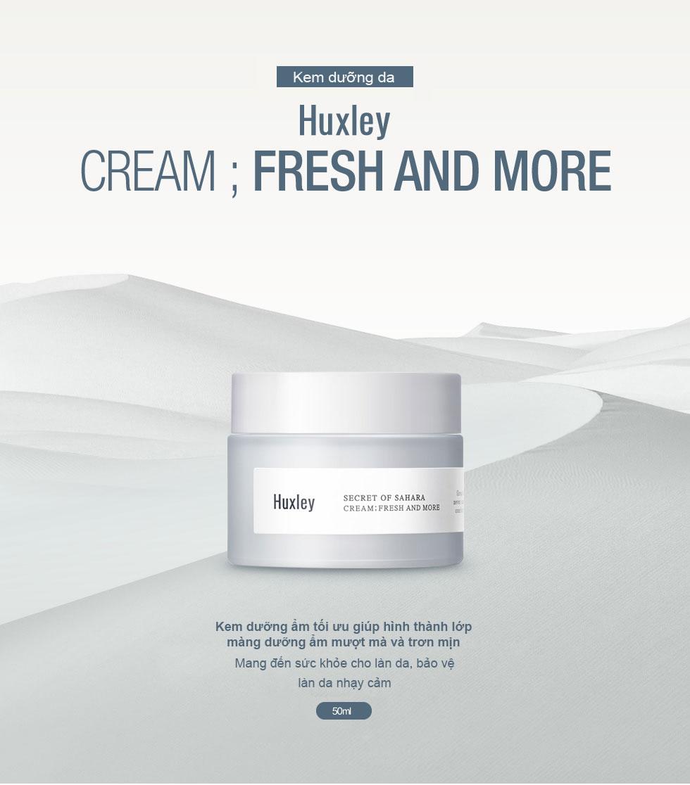 Kem dưỡng da ẩm mượt dạng gel cho da khô da dầu Huxley Cream Fresh and More 7ml (Travel Size)