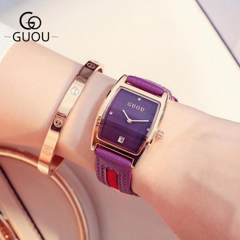 Đồng hồ nữ Guou dây da phối vải mặt quá trám thời trang JS-G8074