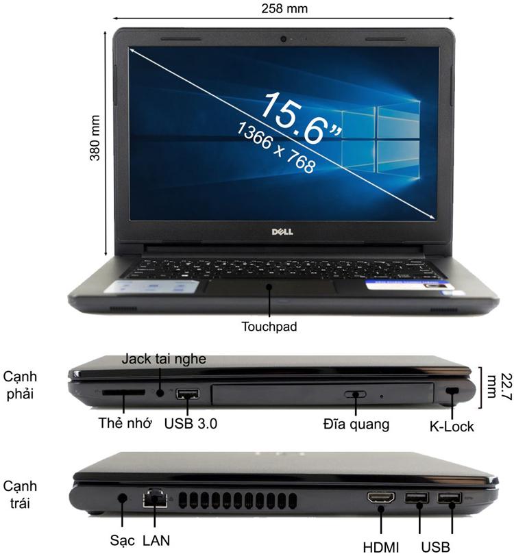 Laptop Dell Inspiron 3567 N3567G Core i3-7100U/Free Dos (15.6 inch) - Black - Hàng Chính Hãng