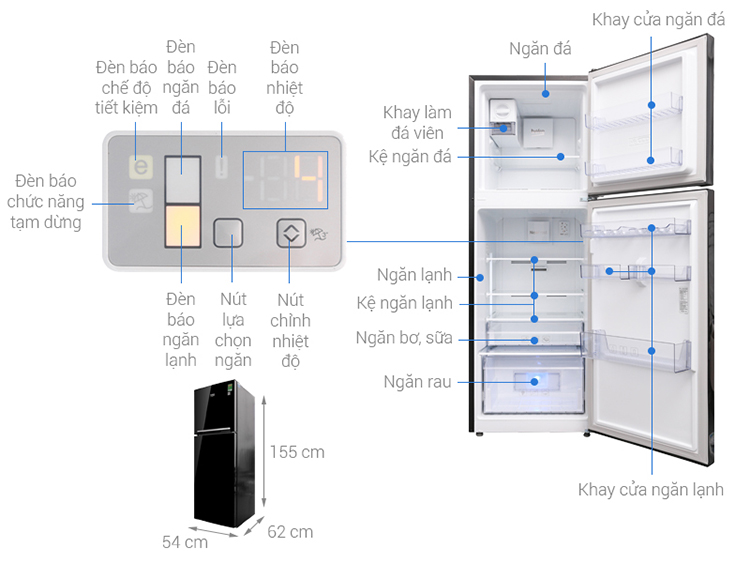 Tủ Lạnh Inverter Beko RDNT250I50VWB (221L) (Đen)