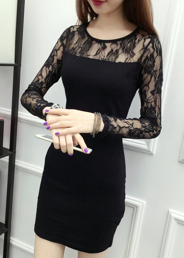 Đầm dự tiệc nữ dáng ôm phối ren da64 2