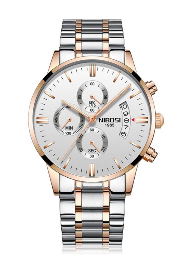 Đồng hồ nam Nibosi dây thép đúc lịch ngày JS-1985S