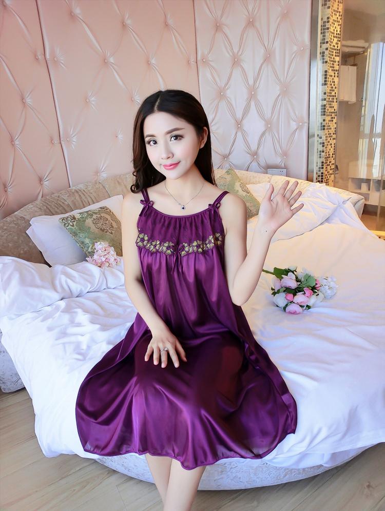 Đầm (Váy) ngủ nữ 2 dây phi lụa mềm mại thoáng mát co giãn JS-SX576