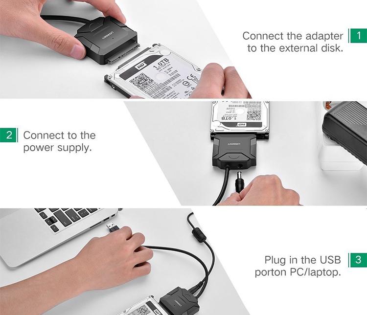 Cáp USB 3.0 To Sata Cho HDD/SSD Nguồn Phụ Ugreen (20611)