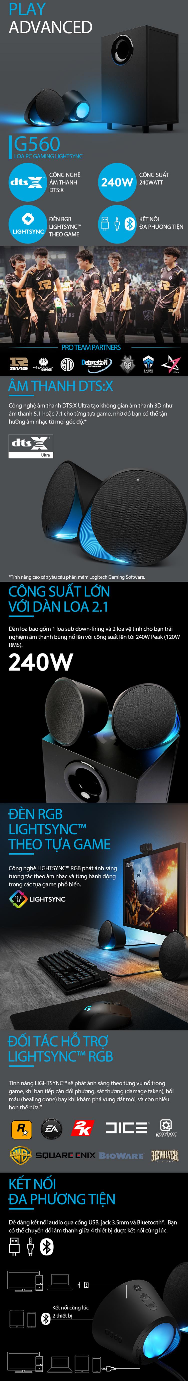 Loa Gaming Logitech G560 2.1 Bluetooth LightSync (240W) - Hàng Chính Hãng