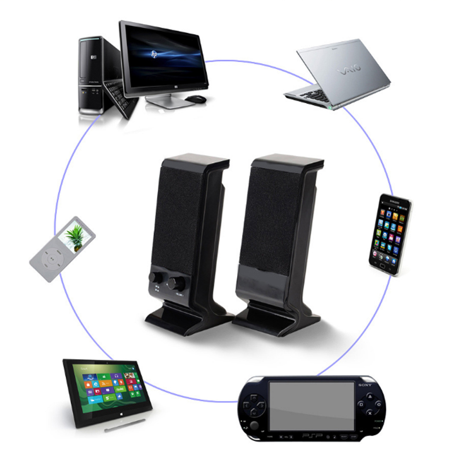 Bộ 2 Loa Máy Tính USB 2.0 V-112-1 + Tặng Tai Nghe Bluetooth Nhét Tai