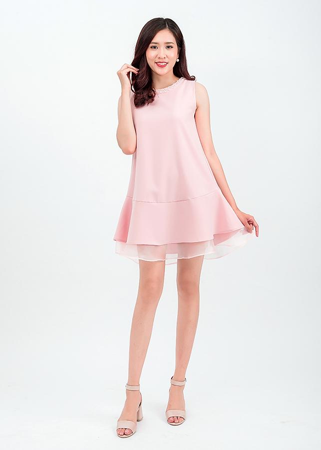 Đầm suông bèo đính hạt hồng Pastel 49601