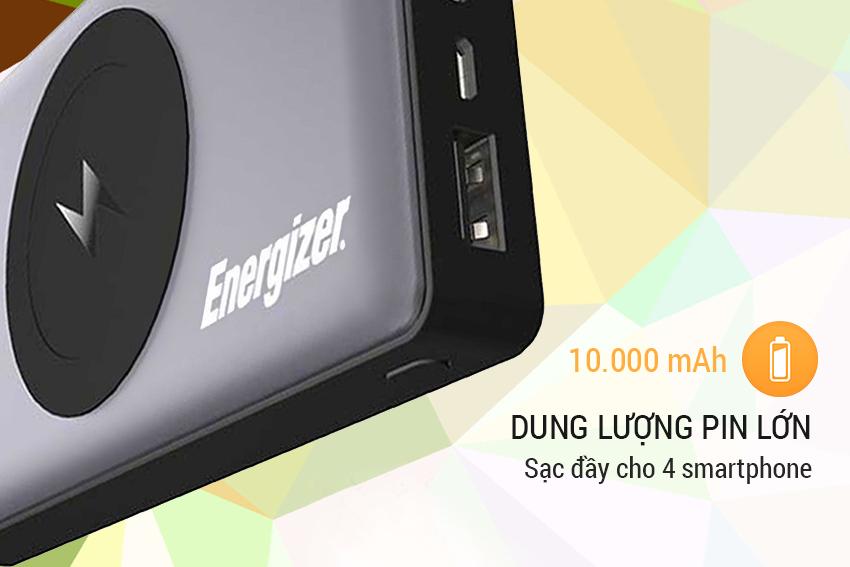 Pin sạc dự phòng Energizer Sạc không dây QE10000 10,000mAh (Xám)
