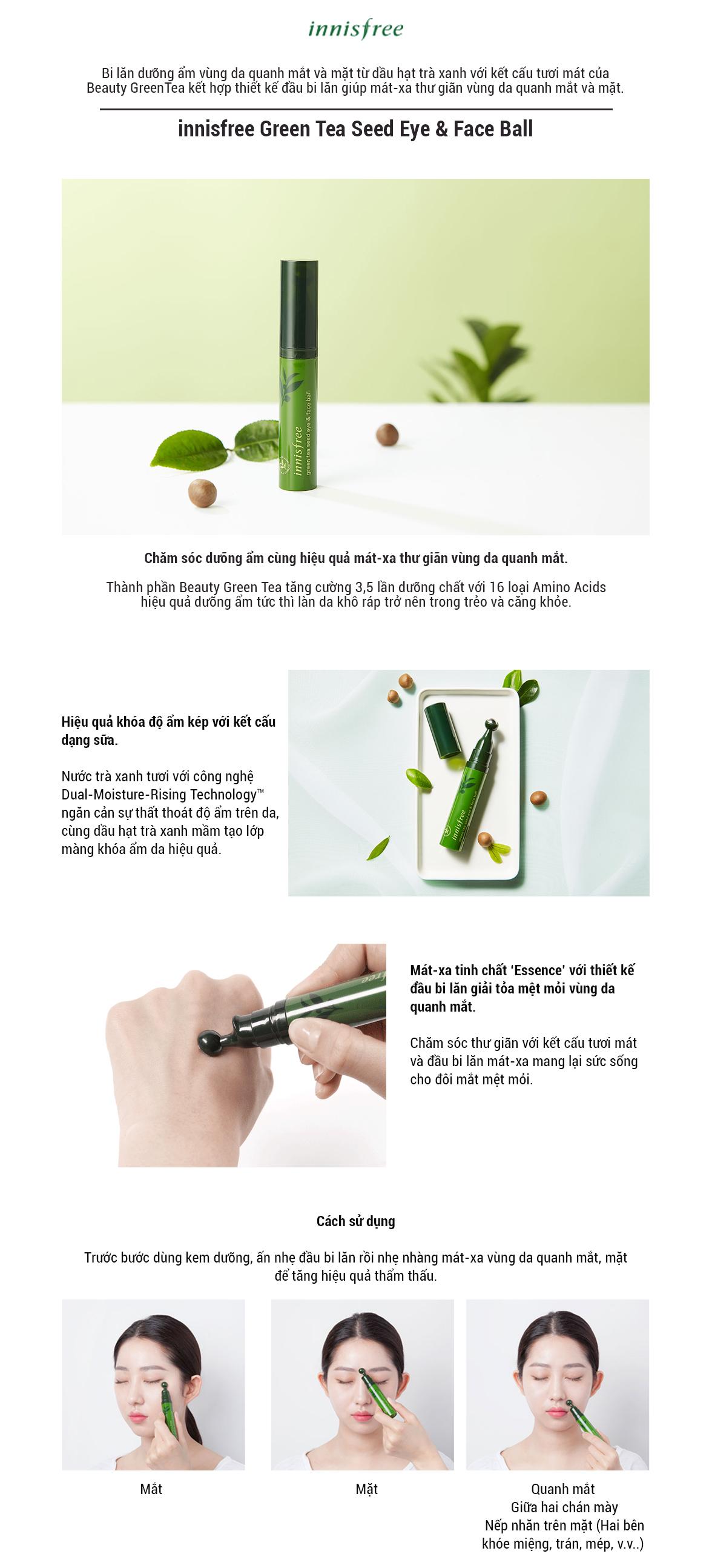Tinh Chất Dưỡng Mắt & Mặt Dạng Đầu Lăn Massage Từ Trà Xanh Và Dầu Hạt Trà Xanh Tươi Innisfree Green Tea Seed Eye & Face Ball (10ml) (New)