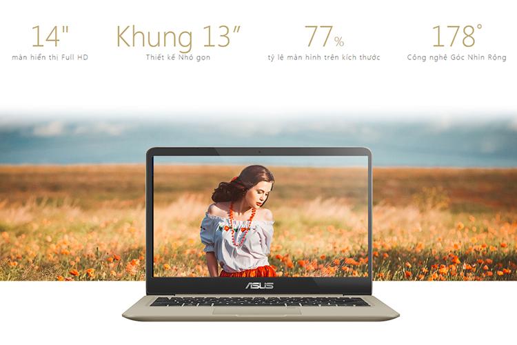 Laptop Asus VivoBook S14 S410UN-EB210T Core i5-8250U/Win10 (14 inch) - Hàng Chính Hãng (Gold)