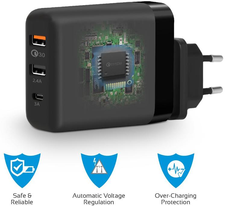 Sạc USB Type-C Promate Powerhub-QC 30W - Hàng Chính Hãng (Đen-US)
