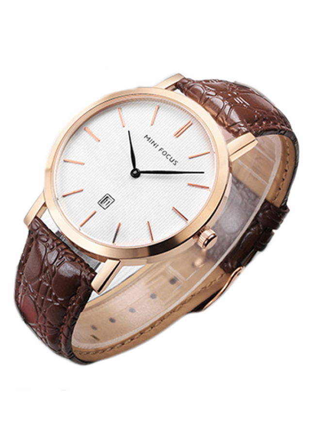 Đồng hồ nam Mini Focus dây da sần lịch ngày cao cấp JS-MF108G