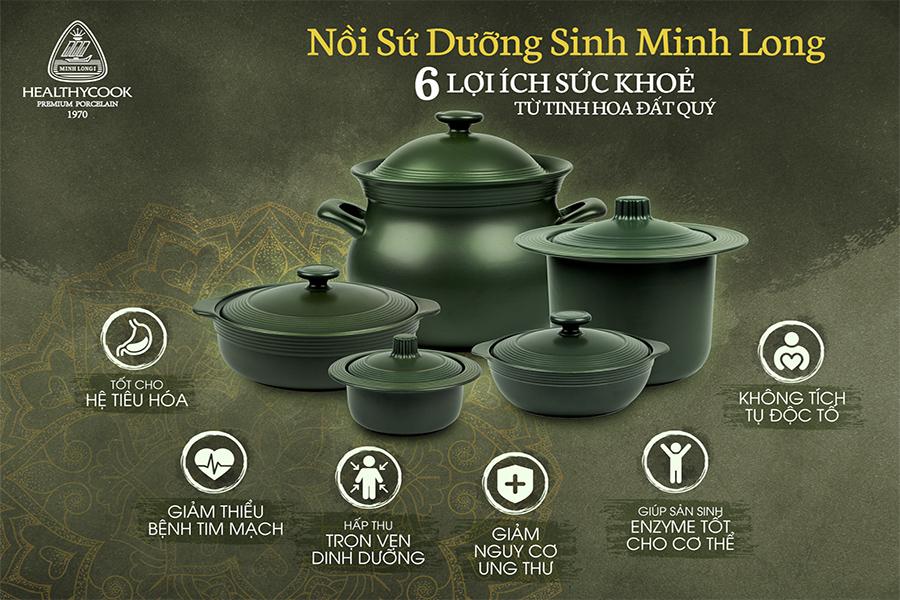 Bộ 3 Nồi Dưỡng Sinh Vành Tròn Minh Long Healthycook - Xanh Rêu