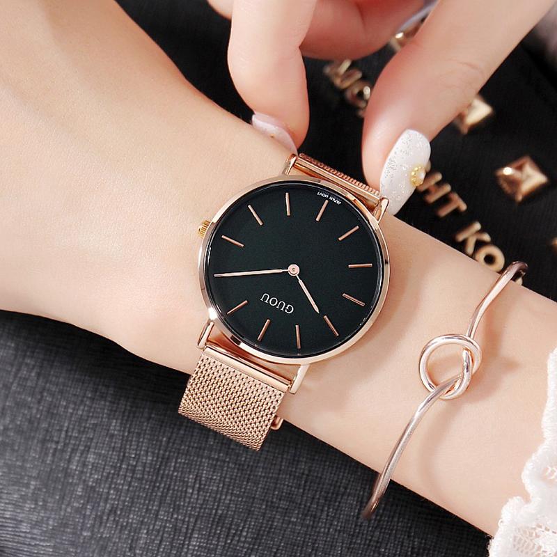 Đồng hồ nữ Guou dây thép lụa vàng hồng sang trọng JS-G6003S