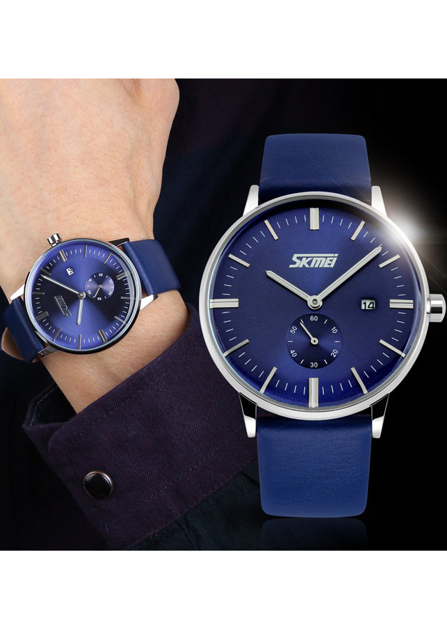 Đồng hồ nam Skmei dây da kim rốn thời trang trẻ trung JS-SK9083
